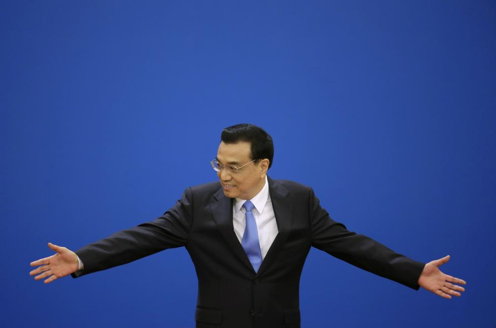 China's Premier Li gestures as he attends the annual news conference following the closing session of the National People's Congress or parliament at the Great Hall of the People in Beijing