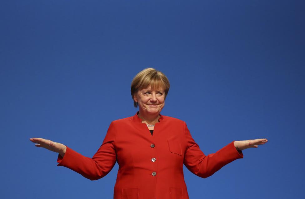 3: German Chancellor Angela Merkel is third.  REUTERS/Kai Pfaffenbach