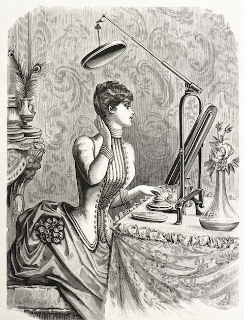 young elegant woman in beautiful corsage dress looking at mirror. vintage engraved illustration.  La Mode Illustree 1885, France, Paris